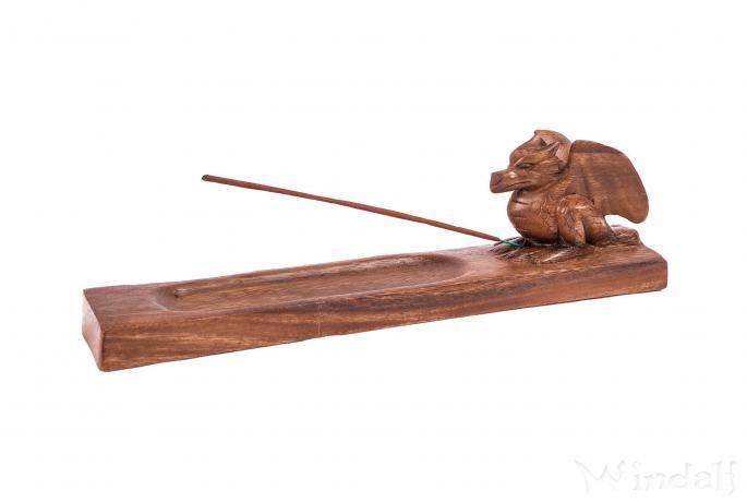 Räucherstabhalter ~ PUMUK ~ l: 31 cm - Drache Holzräuchermittelhalter - Handarbeit aus Holz - Windalf.de