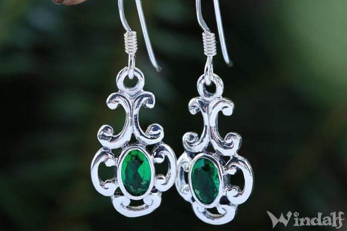kosten charm Vielzahl von Designs und Farben kinder Damen Ohrringe ~ MEDINA ~ Grüner Smaragd - Silber