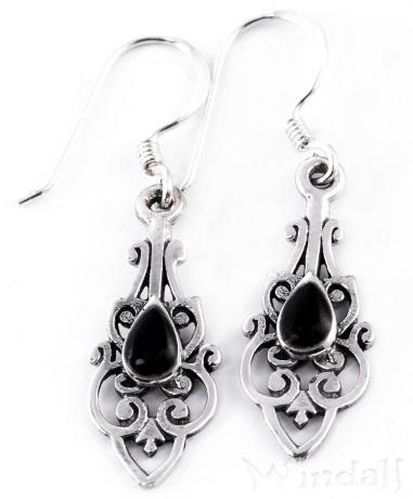 Ohrringe Ohrhänger Silber mit Stein Onyx