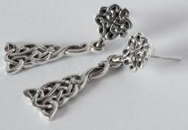 Lange Keltische Ohrringe ~ MINA ~ Keltischer Knoten - Silber - Windalf.de