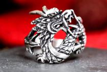 Vintage Ring ~ SMAUG ~ h: 2 cm - Boho Glücks-Drache - Vintage Silber - Windalf.de