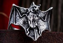 Vintage Ring ~ TARYN ~ 2 cm - Fledermaus - Gothic Schmuck - Silber - Windalf.de