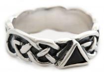 Britischer Ring ~ RIANNON ~ 10 mm - Celtic - Schwarzer Kristall - Silber - Windalf.de