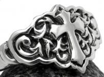 Ritter Ring ~ ROBBIN  ~ h: 1.3 cm - Mittelalter Kreuz - Gothic Schmuck - Vintage Silber - Windalf.de