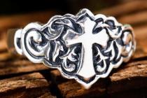Ritter Ring ~ ROBIN  ~ 13 mm - Mittelalter Kreuz - Gothic Schmuck - Vintage Silber - Windalf.de