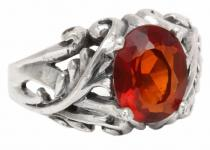 Mittelalter Ring ~ MANJA ~ 1.1 cm - Fairy Ring - Roter Kristall - Silber - Windalf.de
