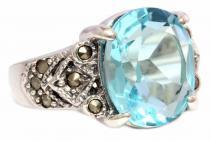 Mittelalter Ring ~ ANÂCIA ~ 12 mm - Topas Kristall - Markasit Elbenring - Silber - Windalf.de