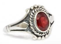 Ring ~ ALORIA ~ Medieval - Roter Kristall - Silber - Windalf.de