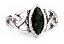 Ring ~ ISEA ~ 1.2 cm - Schwarzer Kristall - Keltische Knoten - Silber - Windalf.de