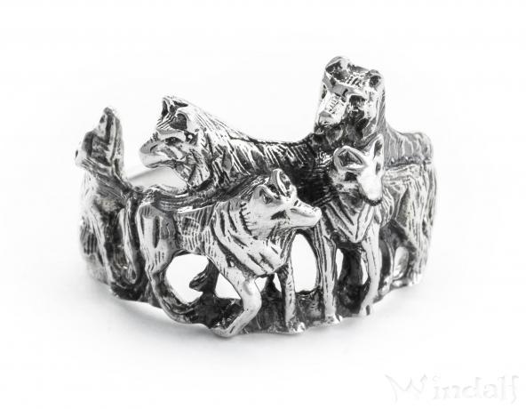 Wolfs-Ring ~ NYMERIA ~ Wolfsrudel ~ Schattenwölfe - Silber - Windalf.de