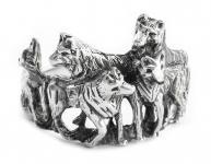 Wolfs-Ring ~ NYMERIA ~ h: 1.6 cm - Wolfsrudel - Schattenwölfe - Silber - Windalf.de