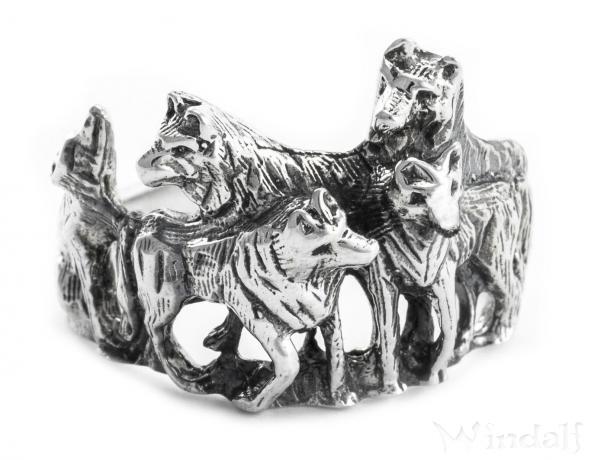 Wolfs-Ring ~ NYMERIA ~ 1.6 cm - Wolfsrudel - Schattenwölfe - Silber - Windalf.de