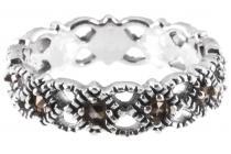 Schmaler Damen Ring ~ ZAIDA ~ 4 mm - Mittelalterliche Ornamentik -  Markasit-Ring - Silber - Windalf.de