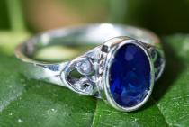 Elfen Damen Ring ~ TARA ~ 0.9 cm - Blauer Kristall - Freundschaftsring - Vintage Silber - Windalf.de