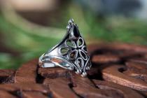 Mittelalter Ring ~ SHAÎNA ~ Schwarzer Onyx - Gothic-Ring - Silber - Windalf.de