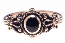 Mittelalter Ring ~ SHEELA ~ Onyx - Gothic - Bronze - Windalf.de