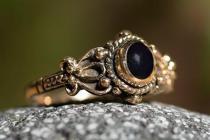 Mittelalter Ring ~ SHEELA ~ Onyx - Gothic - Bronze - Windalf.de