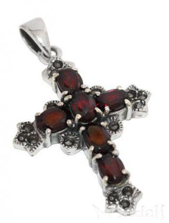 Anhänger ~ IRISA ~ Kreuz-Amulett - Roter Kristall - Silber - Windalf.de