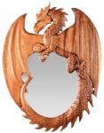 Großer Drachen Spiegel ~ ARCA ~ 53 cm - Natur Wandspiegel - Vikings Dekor - Handarbeit aus Holz - Windalf.de