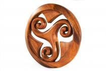 Celtic Holzbild ~ IANA ~ Ø 22 cm - Keltische Triskele im Kreis - Wand-Ornament - Handarbeit aus Holz - Windalf.de