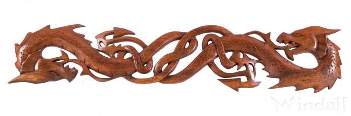Wandbild ~ THORAS ~ Zwei Drachen - Celtic - Handarbeit aus Holz - Windalf.de