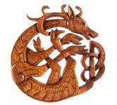 Wandbild ~ CERNUN ~ h: 22 cm - Keltischer Hirsch - Handarbeit aus Holz - Windalf.de