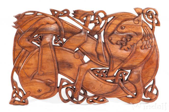 Wikinger Wandbild ~ RAGNARÖK ~ b: 38 cm - Fenris Wolf - Handarbeit aus Holz - Windalf.de