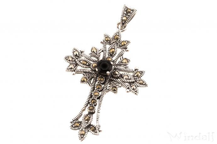 Schmuck Anhänger Gothic Kreuz ~ ACANTHA ~ 4.5 cm - Kreuz mit schwarzem Stein - Silber - Windalf.de
