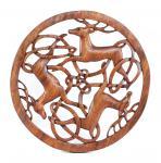 Wandbild ~ DWALIN ~ Ø 34 cm - Keltische Hirsche - Handarbeit aus Holz - Windalf.de