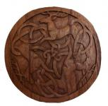 Wanddeko ~ DAIN ~ Ø 34 cm - Keltische Hirsche - Handarbeit aus Holz - Windalf.de