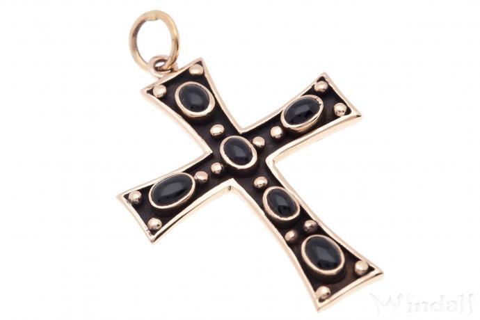 Schmuck Anhänger ~ THORA ~ Kreuz - mit Onyx - Bronze - Windalf.de