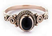 Ring ~ ALICE ~ Spirals ~ Onyx - Bronze - Windalf.de