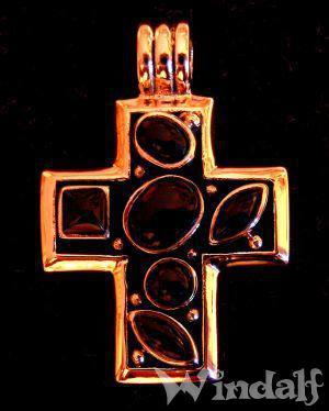 Mittelalter Anhänger Kreuz ~ ANYMA ~ 3.2 cm - Amulett mit Onyxsteinen - Bronze - Windalf.de