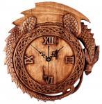 Drachen Wanduhr ~ MINOR ~ Ø 34 cm - Asatru Drachenuhr - Natur Holzuhr - Handarbeit aus Holz - Windalf.de