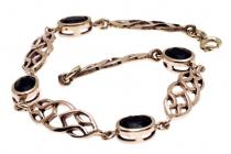 Celtic Armkette ~ SVANA ~ 18.5 cm - Celtic Schwarzer Kristall Freundschafts Armband - Bronzekette - Windalf.de