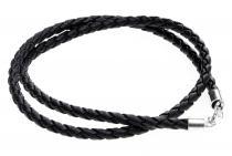 Schwarzes Lederband ~ DVALIN ~ geflochten 4 mm - 50 cm - Silber - Windalf.de