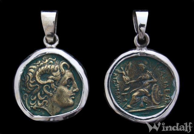 Anhänger Münze Alexander Der Große Athena Replikat 925