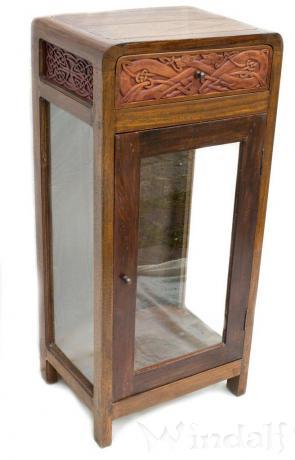 glas vitrine vina h 100 cm schaukasten kelten knoten handarbeit aus holz rustikale. Black Bedroom Furniture Sets. Home Design Ideas