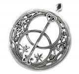 Britischer Glücksbringer Anhänger ~ AVALON ~ Ø 2.8 cm - Gralssuche - Chalice Wells Amulett - Silber - Windalf.de