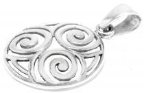 Keltischer Anhänger ~ SHEENA ~ Ø 2 cm - Celtic Balance - Lebens-Spiralen - Silber - Windalf.de
