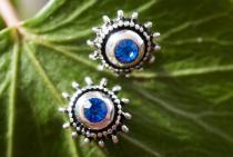 Ohrstecker ~ LUCIA ~ Blauer Kristall - 6 mm - Silber - Windalf.de
