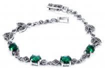Mittelalter Armkette ~ RAMIA ~ 17.5 cm - Grüner Kristall - Freundschafts-Armband - Silber - Windalf.de
