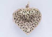 Liebes Anhänger ~ NINA ~ h: 3.8 cm - Herz Medaillon - Hochwertige Bronze - Windalf.de