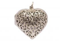 Liebes Schmuck Anhänger ~ NINA ~ h: 3.8 cm - Herz Medaillon - Hochwertige Bronze - Windalf.de