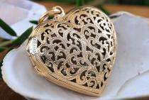 Boho Schmuck Anhänger ~ NINA ~ h: 3.8 cm - Herz Medaillon zum Öffenen - Hochwertige Bronze - Windalf.de