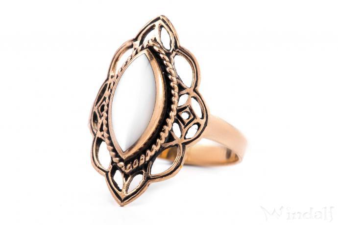 Mittelalter Ring ~ LÚNA ~ h: 2.2 cm - Elfenstern - Perlmutt - Bronze - Windalf.de