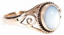 Zarter Ring ~ LUCY ~ 0.9 cm - Perlmutt mit Lebens Spiralen - Bronze - Windalf.de