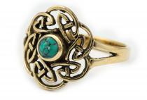 Keltischer Ring ~ TAVIA ~ Türkis -  Bronze - Windalf.de