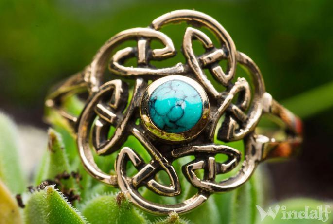 Keltischer Ring ~ TAVIA ~ h: 1.6 cm - Türkis -  Bronze - Windalf.de