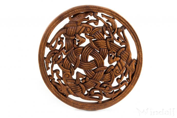 wikinger wanddeko taran drachen triade aus holz viking holz wand deko windalf. Black Bedroom Furniture Sets. Home Design Ideas
